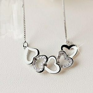 Diamond Hearts 925 Sterling Silver Necklace